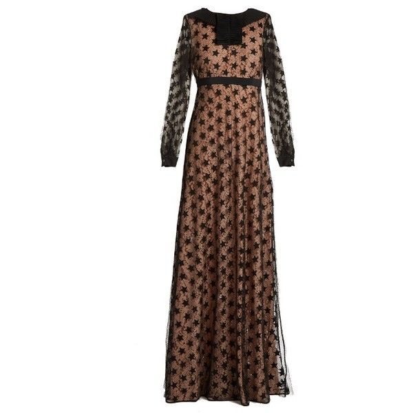 No. 21 Star-embroidered tulle and lace maxi dress ($682) ❤ liked on Polyvore featuring dresses, flutter sleeve dress, brown maxi dress, maxi dresses, sheer sleeve dress and ruffle sleeve dress