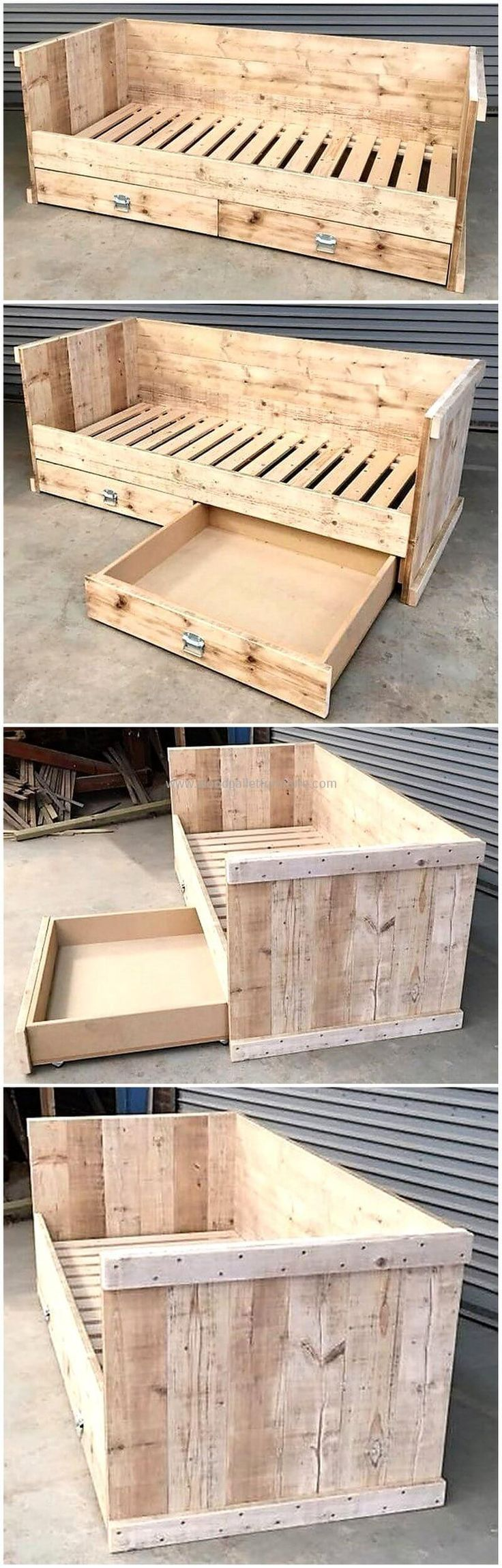 Let's check out the finest designing of wooden pallet creation. The wood pallet can not only be used for small furniture items but also best material for home's furnishing. This wood pallet bed with storage drawers appears sturdy and durable to relax on it and the storage drawers will for sure provide you a great storage space in your place.