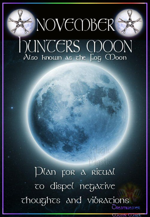 NOVEMBER – HUNTERS MOON Also known as the Fog Moon  Plan for a ritual to dispel negative thoughts and vibrations.