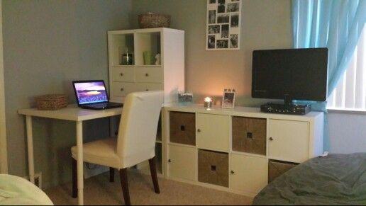 kallax shelving dresser desk combination made from ikea. Black Bedroom Furniture Sets. Home Design Ideas
