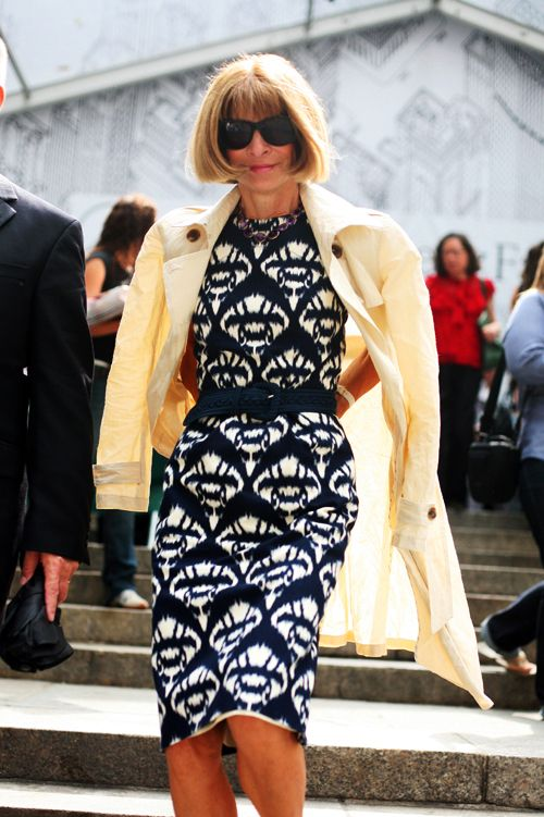 On The Steps- Loving the dress, will she ever change the hair? :)« The Sartorialist