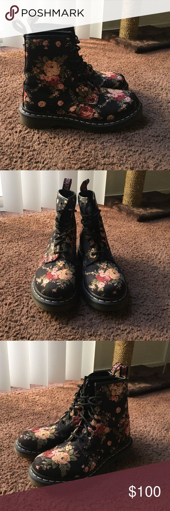 Doc Marten Floral Boots Black Doc Martens with floral print. Worn once, in excellent condition. Doc Martens  Shoes Combat & Moto Boots