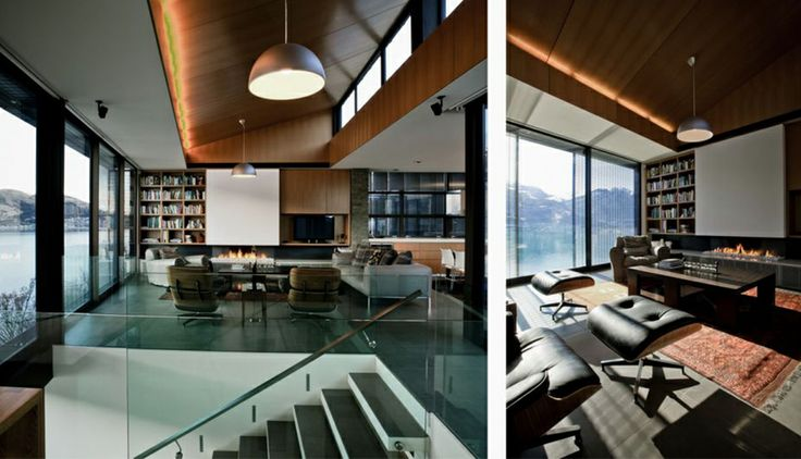 Our Eames Chairs go perfectly in this stunning home. Lighting Design by Virginia Cooper.