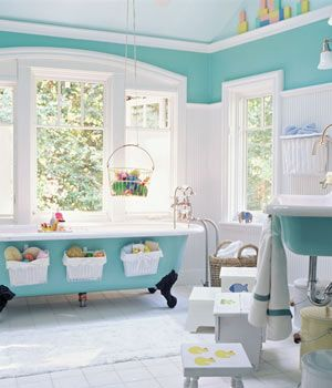 Painted Cast Iron Clawfoot Tubs And Utility Sinks Add Old Fashioned Charm And A Nice Pop Of Color