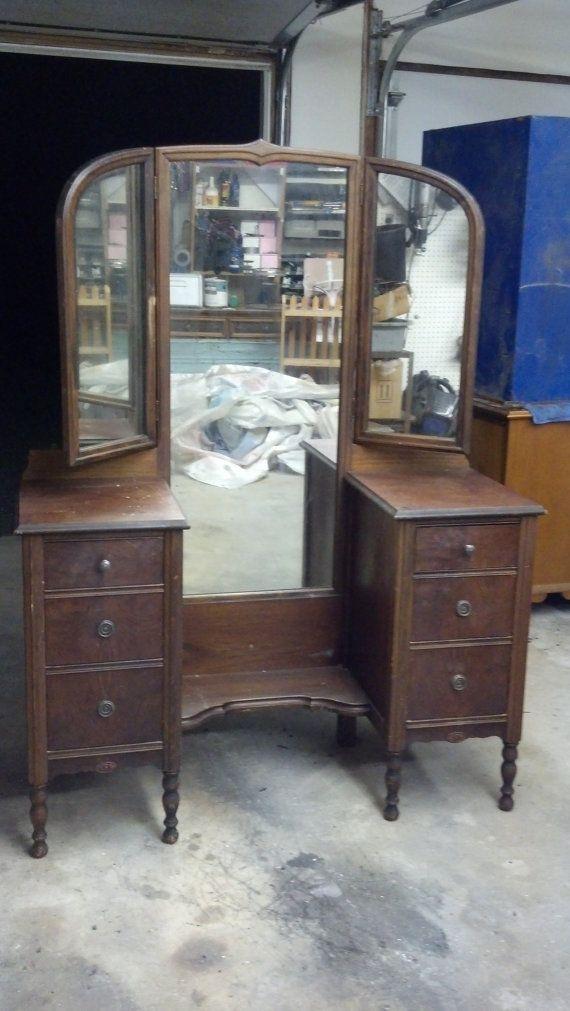 Custom Vintage Vanity Tri Fold Mirror Shabby Chic Farmhouse Cottage Style American Walnut Atlas