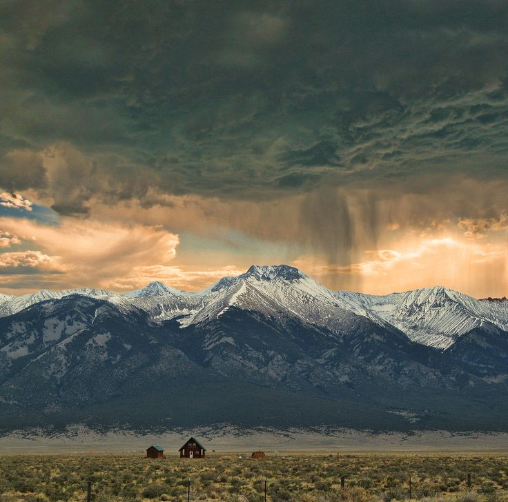 This is a perfect Colorado picture  The plains and the mountains together   Amazing  Colorado