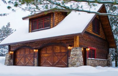 47 best log cabin love images on pinterest garage door for Log cabin style garages