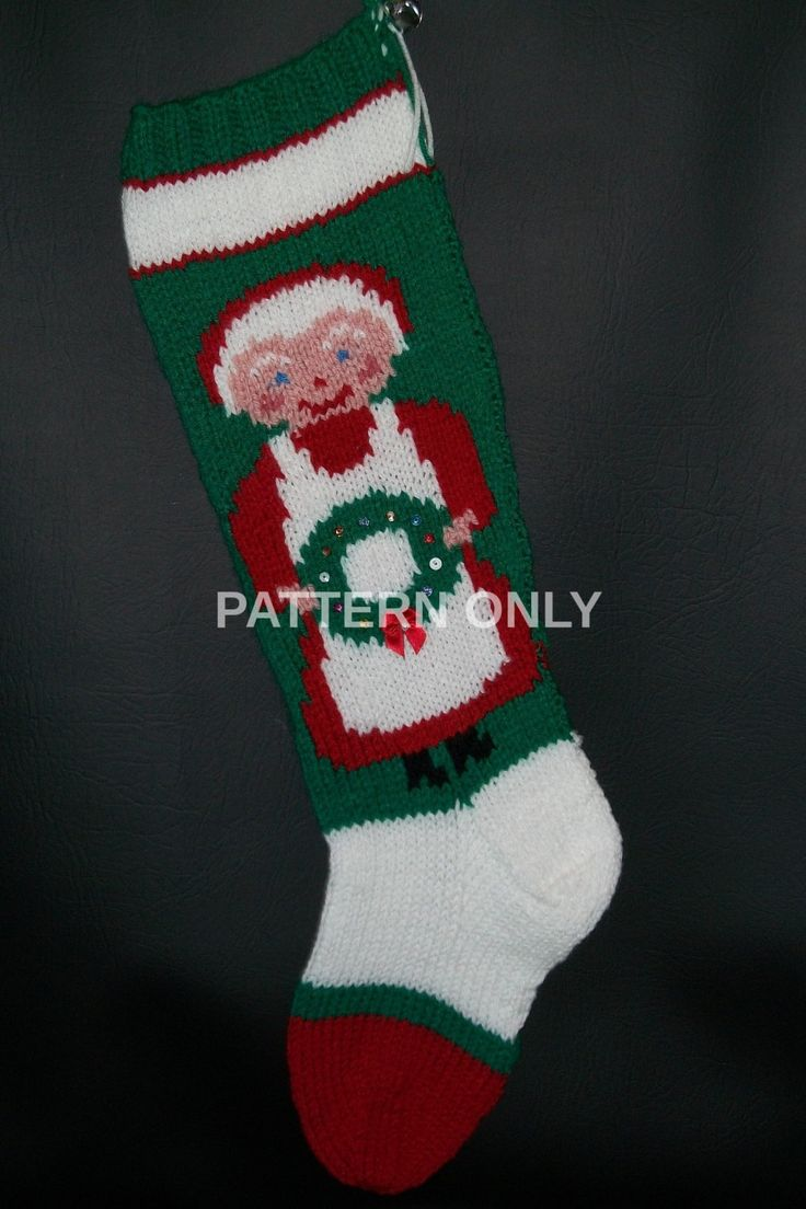Pdf Pattern Only Hand Knitted Mrs Claus With Wreath