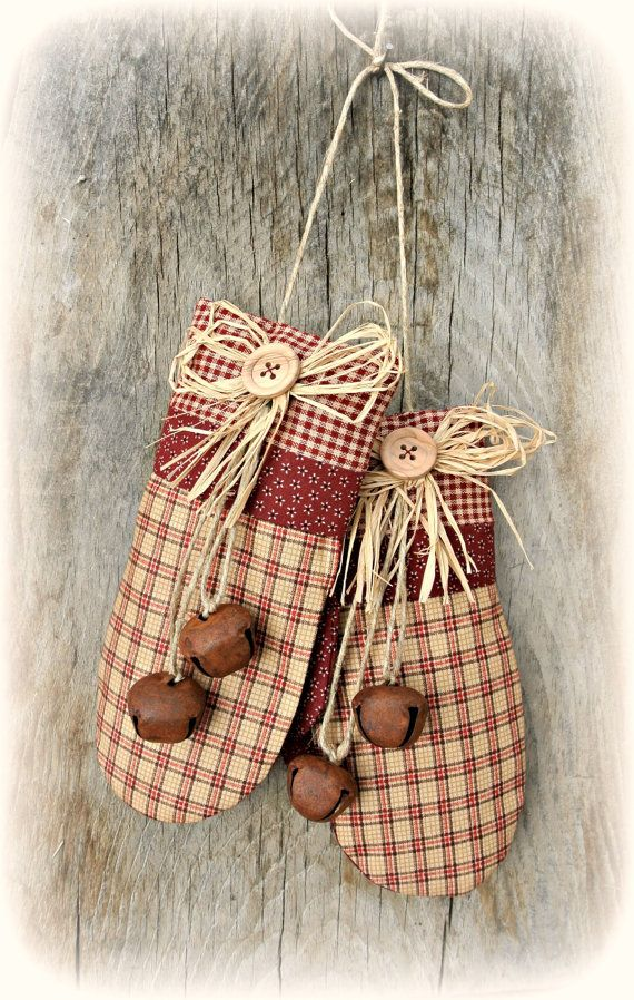 PRIMITIVE STYLE Maroon & Tan Plaid Mittens by DesignItAgainCrafts, $15.00