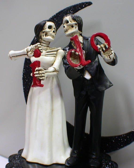 Day Of The Dead Wedding Skeleton Frankenstein Skull Bride And Groom Figurine