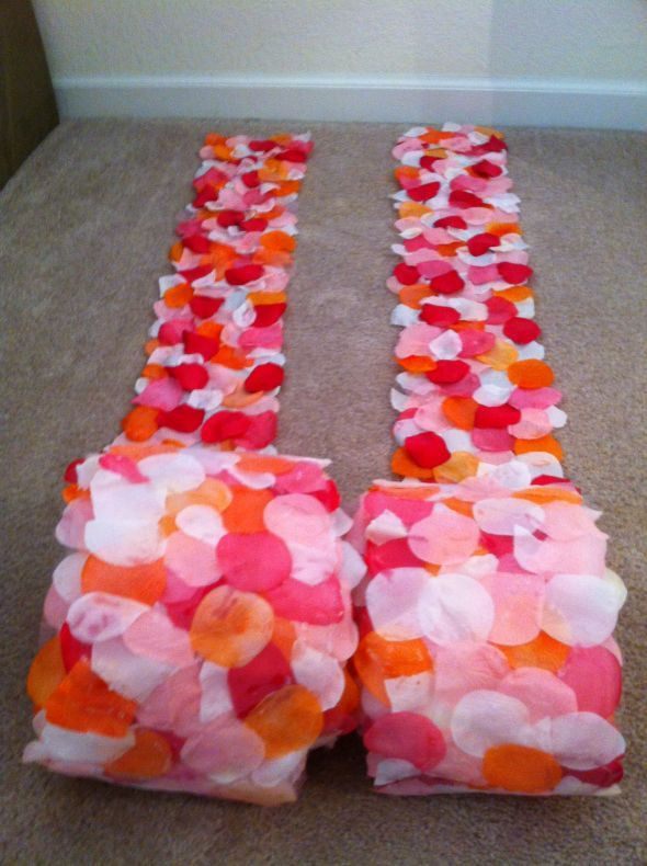 DIY aisle runners to line the side of the aisle.... customize colors, cute and easy clean up -very creative.