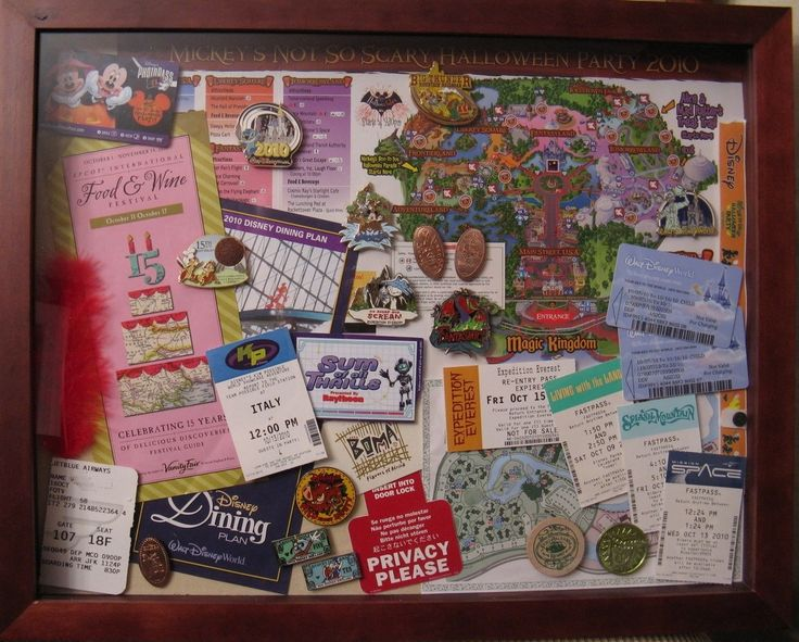 Shadow box from 2010 trip to Walt Disney World -  I especially love that this makes a display I can see and enjoy every day (rather than putting all this stuff away in a drawer or box somewhere.  Plus it's a lot less time-consuming than a scrapbook!