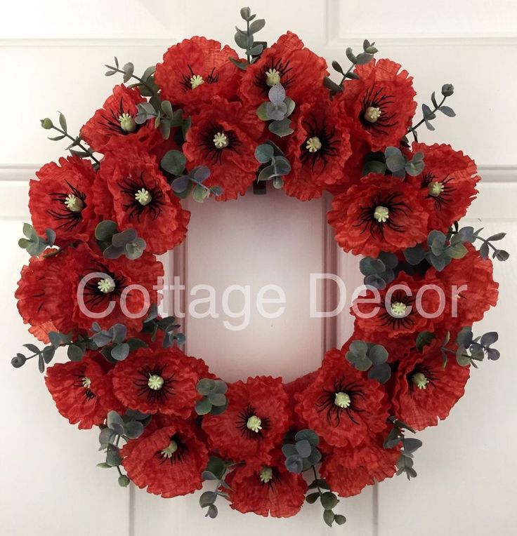 LARGE SILK FLAME RED POPPY WREATH REMEMBRANCE MEMORIAL TRIBUTE HANDMADE in Home, Furniture & DIY, Home Decor, Wall Hangings | eBay