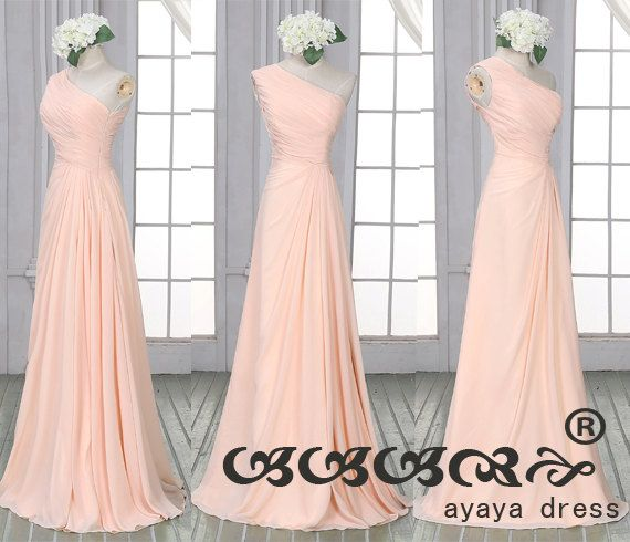 Long Blush Prom Dress Formal dress One Shoulde by ayayadress
