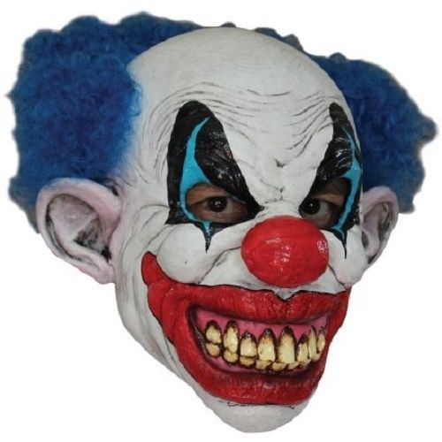 SCARY CLOWN MASK ADULT SIZE HALLOWEEN COSTUME LATEX FULL HEAD ACCESSORY W HAIR