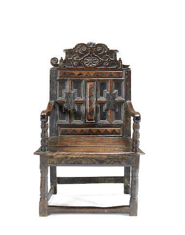 Beautiful A Rare Elizabeth I Oak And Inlaid Double Panel Back Open Armchair, Circa  1580