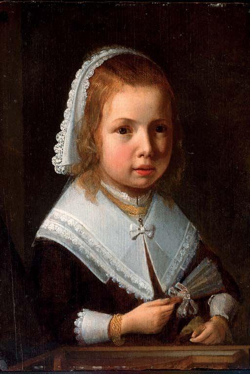 Albert Cuyp - Portret van een kind in een zwarte jurk met een witte kanten kraag