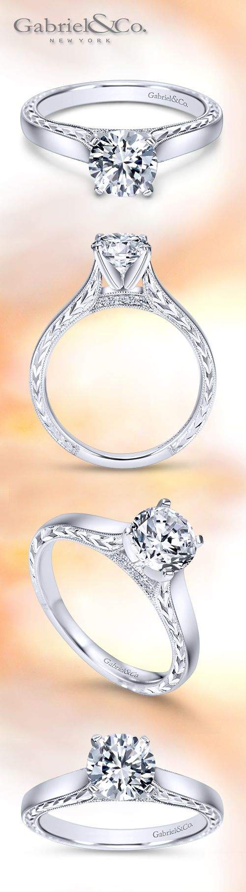 Gabriel & Co. - Voted #1 Most Preferred Bridal Brand. A Victorian Solitaire Engagement Ring made for a Queen. Style:ER8046W44JJ