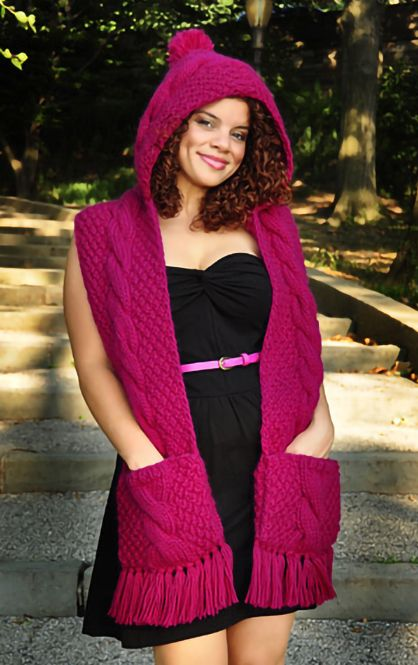 Knitting Pattern for Trifecta Hooded Scarf With Pockets - Textured scarf with cables. Aran weight yarn. Designed by Lauren Riker of GirlyKnits