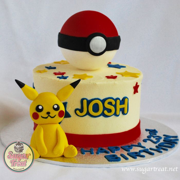 Pokemon Cake With Pikachu And Pokeball Figurine From Mad
