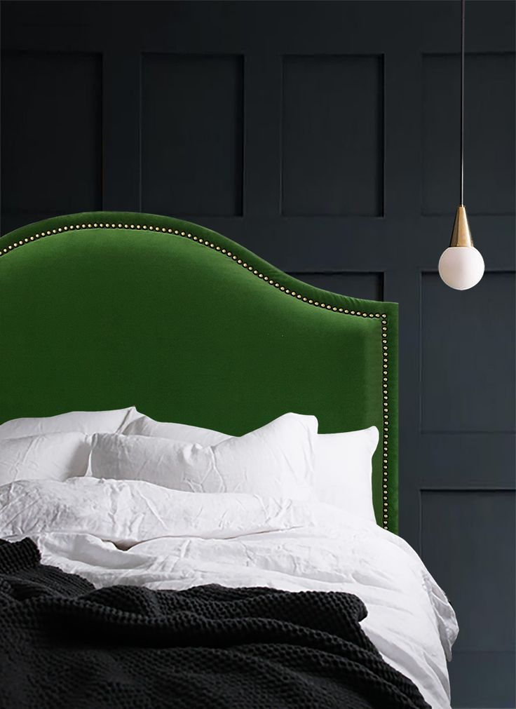My Over the hill headboard Beautiful emerald green velvet with decorative nail detail A real