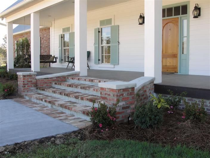 Bing curved front porch steps home pinterest for Brick steps design ideas