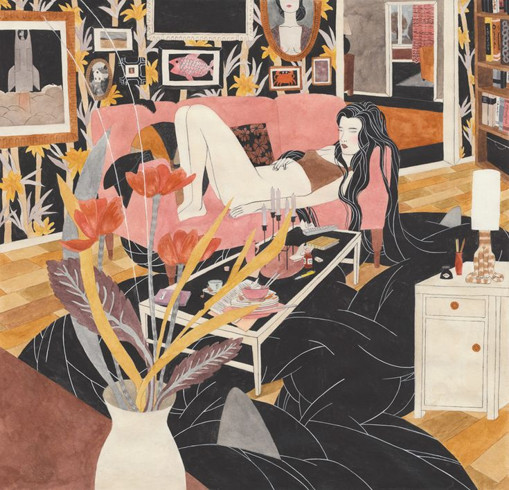Dark Waters by Riikka Sormunen: Moss Art, Vintage Chic, Vintage Wardrobe, Riikkasormunen, Illustration, Colors Combinations, Riikka Sormunen, Dark Water, Hair
