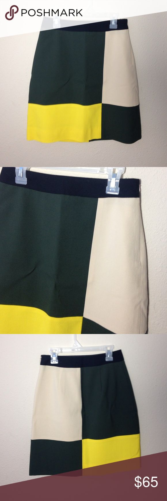 """Kate Spade ♠️ color block skirt Kate spade color block skirt, tan green and yellow with a black waistband. Mostly wool with some elastaine. Has a liner and a side zip. Approximately 19.5"""" in length kate spade Skirts"""