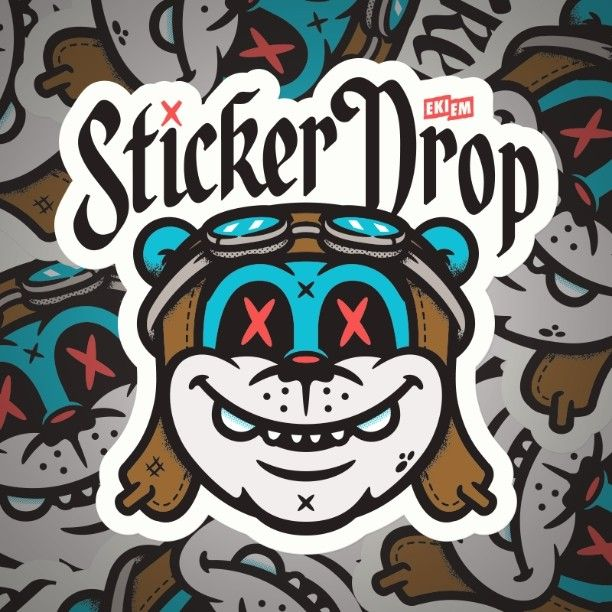 Die cut shape version sticker design for stickerdrop stickers silkscreen
