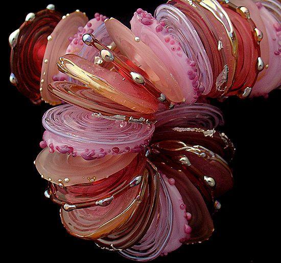 DSG Beads Handmade Organic Lampwork Glass Made To Order  Valentine Discs