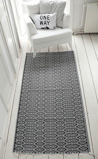Dit is een kunstof vloerkleed van 1.20 x 70 cm en kost 12,95... Misschien past het nog net tussen de muur en het voeteneinde van je bed. Anders misschien aan de zijkant van jullie bed... :-)