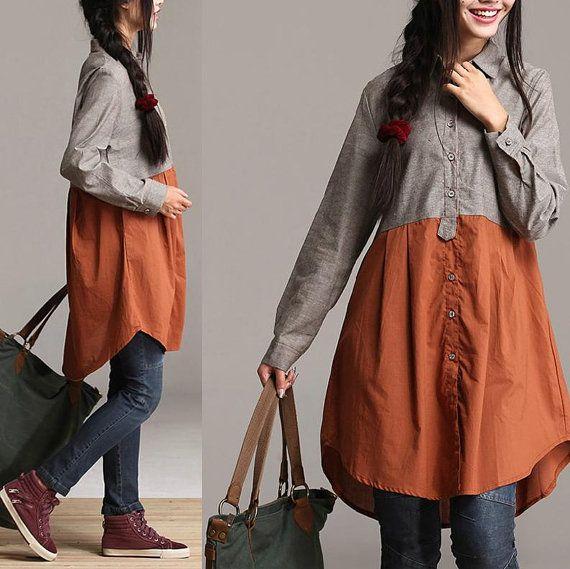 Autumn Patchwork irregular gray long-sleeved shirt / Long waist woman casual style shirt