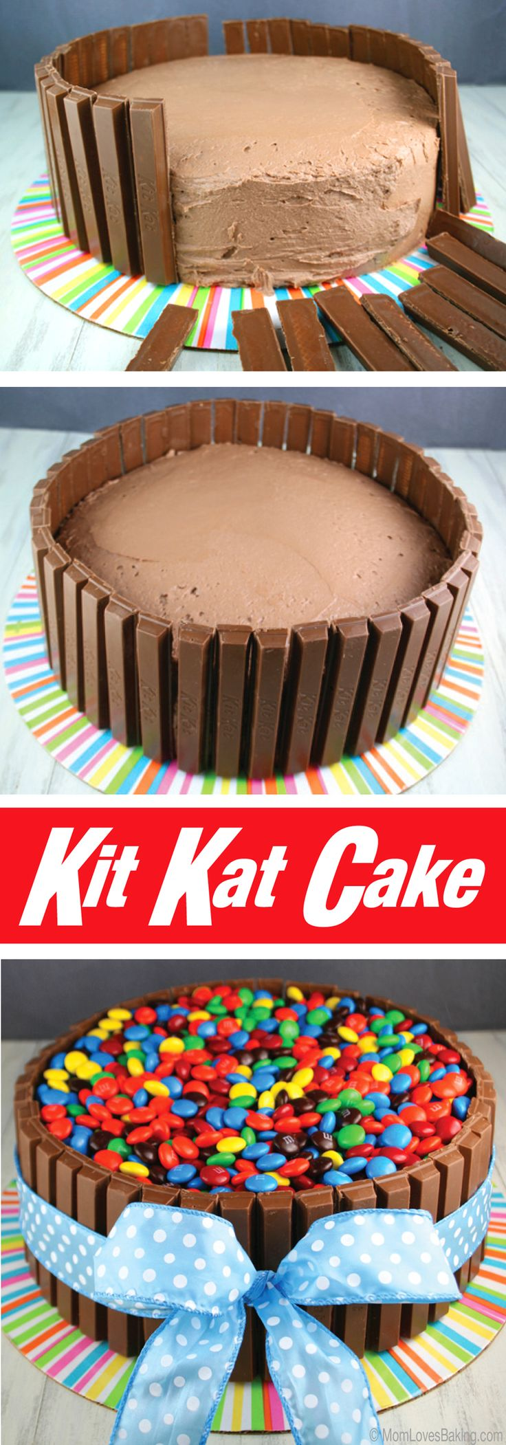 A chocolate frosted chocolate layer cake, surrounded by over 40 Kit Kat bars, topped with 2 large bags of M&M's and wrapped with a beautiful ribbon that's tied in a bow. #Tutorial