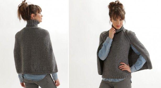 Le pull cape gris (modèle gratuite Prima)