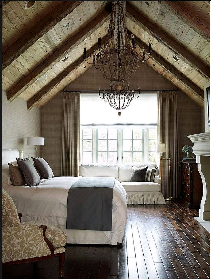 Attic Bedroom Cozy, that's how I want my attic bedroom to feel. Wood ceilings are a nice addition.