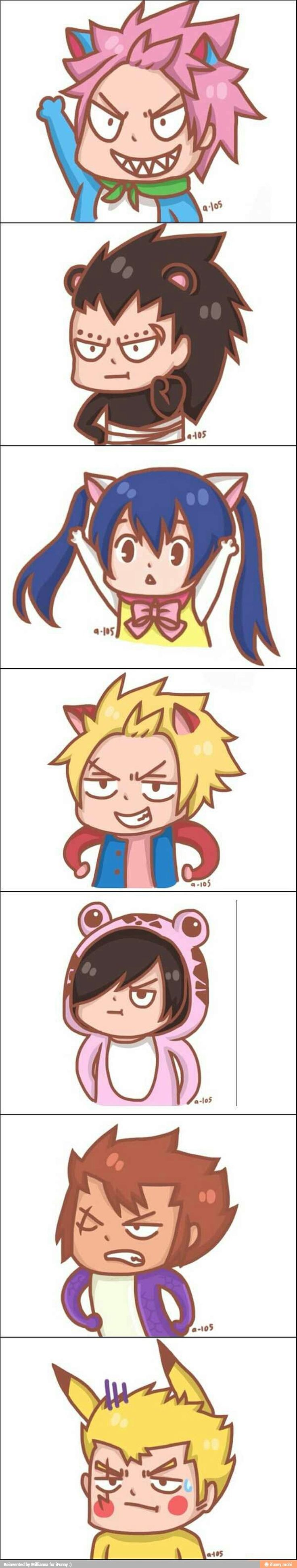 Laxus has Pikachu and Rogue is adorable