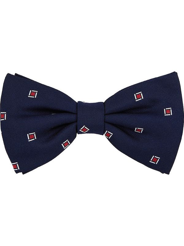 Blue silk bow tie wih rhombus pattern - Rosi Collection