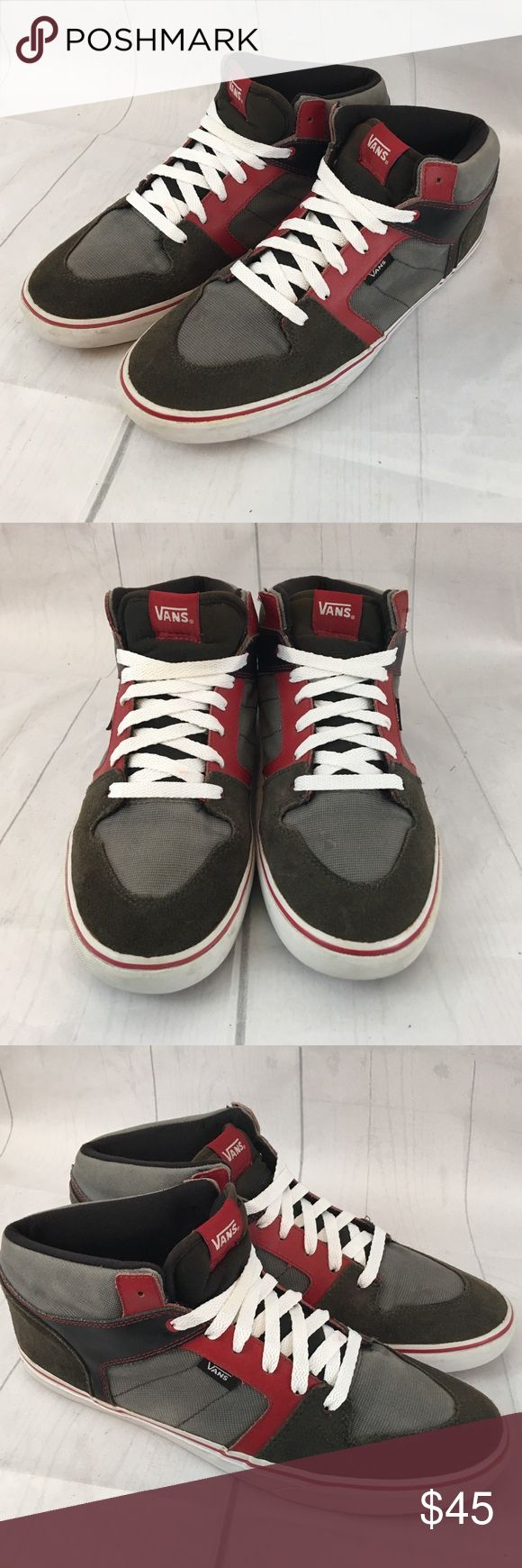 VANS High Tops Shoes Suede Shoes size 10.5 VANS High Tops Shoes Suede Red Laces TB4R shoes men 10.5 women 12  Fast Shipping  Experienced seller  Contact us with questions, we want you to love your new purchase.  Thanks for viewing and happy shopping Vans Shoes Athletic Shoes