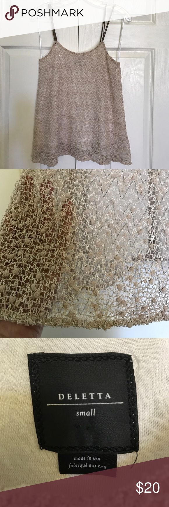 Anthropologie knitted strappy top Deletta by Anthropologie knitted strappy top with metallic accents. Very pretty and perfect for summer. Excellent condition Anthropologie Tops Camisoles
