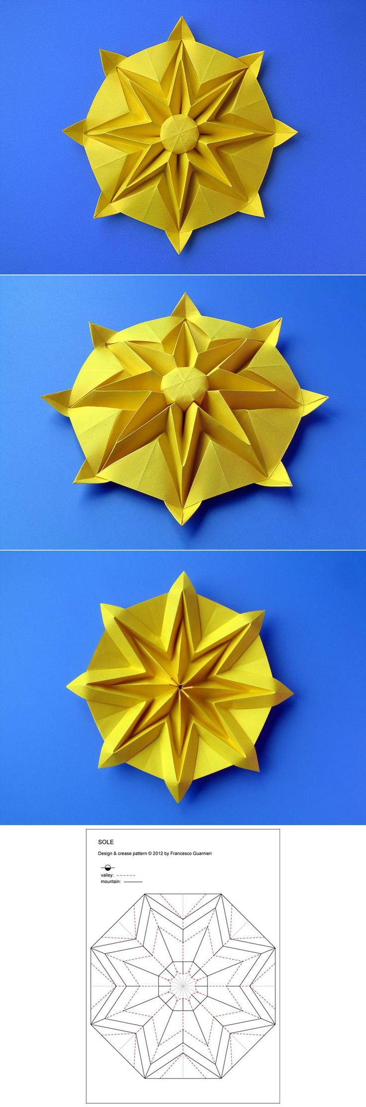 Origami: Sole – Sun, from an octagon from a sheet of paper, 24 x 24 cm. Designed and folded by Francesco Guarnieri, August 2012. Crease Pattern: http://guarnieri-origami.blogspot.it/2013/12/sole-sun.html Diagrams: Atti del XXXI Convegno CDO, 2013 http://www.origami-cdo.it/cdo/magazines/attiint.htm