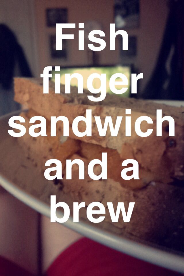 Fish finger sandwich and a brew.   Best quick dinner ever!