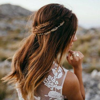 boho gold bridal hairpiece