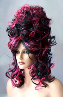 BLACK WITH HOT PINK BEEHIVE DRAG QUEEN WIG