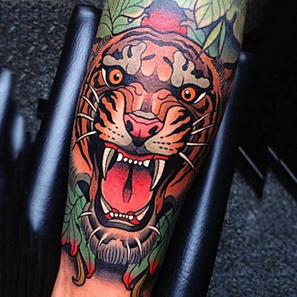 Neo Traditional Realistic Tiger Tattoo Guys Forearms