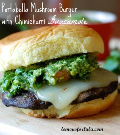 Portabella Mushroom Burgers with Chimichurri Guacamole | Recipe