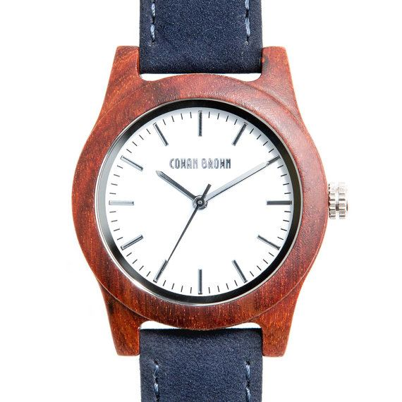 Taylor red sandal wood and blue suede watch by COWANBROWN on Etsy
