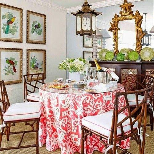 China Seas Island Ikat Table Skirt By T Keller Donovan House Beautiful May 2014