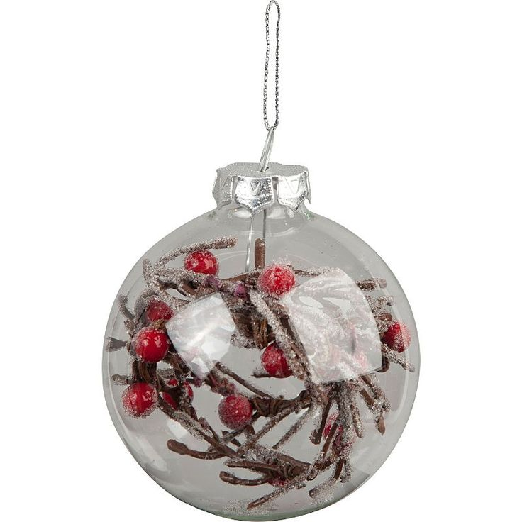 Asda Online Christmas Decorations: Clear Glass Bauble With Berries Inside