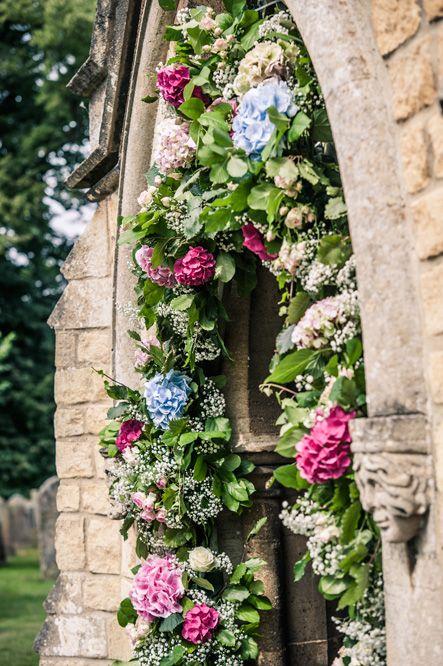 Wedding Flowers at Church Entrance