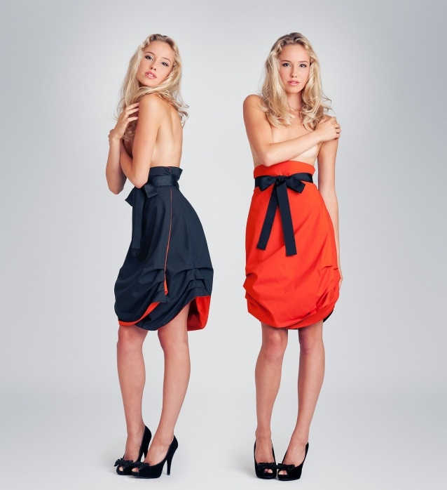 Reversible Jolier skirt. Double side black-orange wrap skirt with black ribbon belt. By simply turning the skirt inside out you can change the colour from office to party from casual to outstanding.